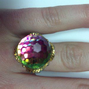 vintage swarovski crystal ball ring